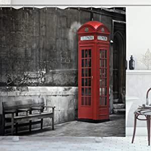 London Shower Curtain by Ambesonne, Famous British Phone Boot in London Streets Important Icon of Town Urban Life Photo, Fabric Bathroom Decor Set with Hooks, 84 Inches Extra Long, Red Grey
