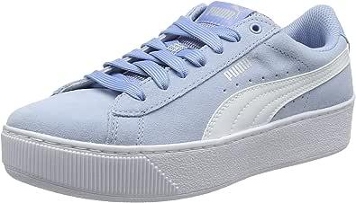 PUMA 女式 vikky 防水台低帮运动鞋 Blue (Cerulean-puma White 17) 4 UK