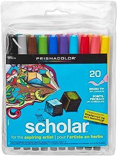 Prismacolor Scholar Water-Based Art Markers美国三福水彩笔多种颜色, Brush Tip, Set of 20 Assorted Colors (1774270)
