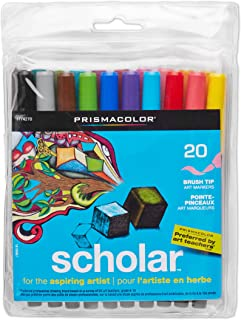 Prismacolor Scholar Water-Based Art Markers美国三福水彩笔多种颜色, Brush Tip, Set of 20 Assorted Colors (1774270)