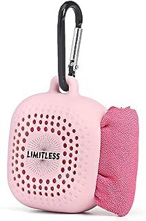 LIMITLESS 速干旅行毛巾带硅胶收纳盒——免费赠送不含 BPA 硅胶吸管! 速干吸水毛巾,适合背包、远足、露营、健身、瑜伽、运动 小号