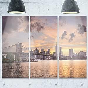 """Designart MT10110-20-12 纽约市黑暗云下天际线金属墙壁艺术 36x28"""" - 3 Panels MT10110-3P"""