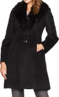 Ivanka Trump 女士羊毛薄纱袖,带人造毛皮