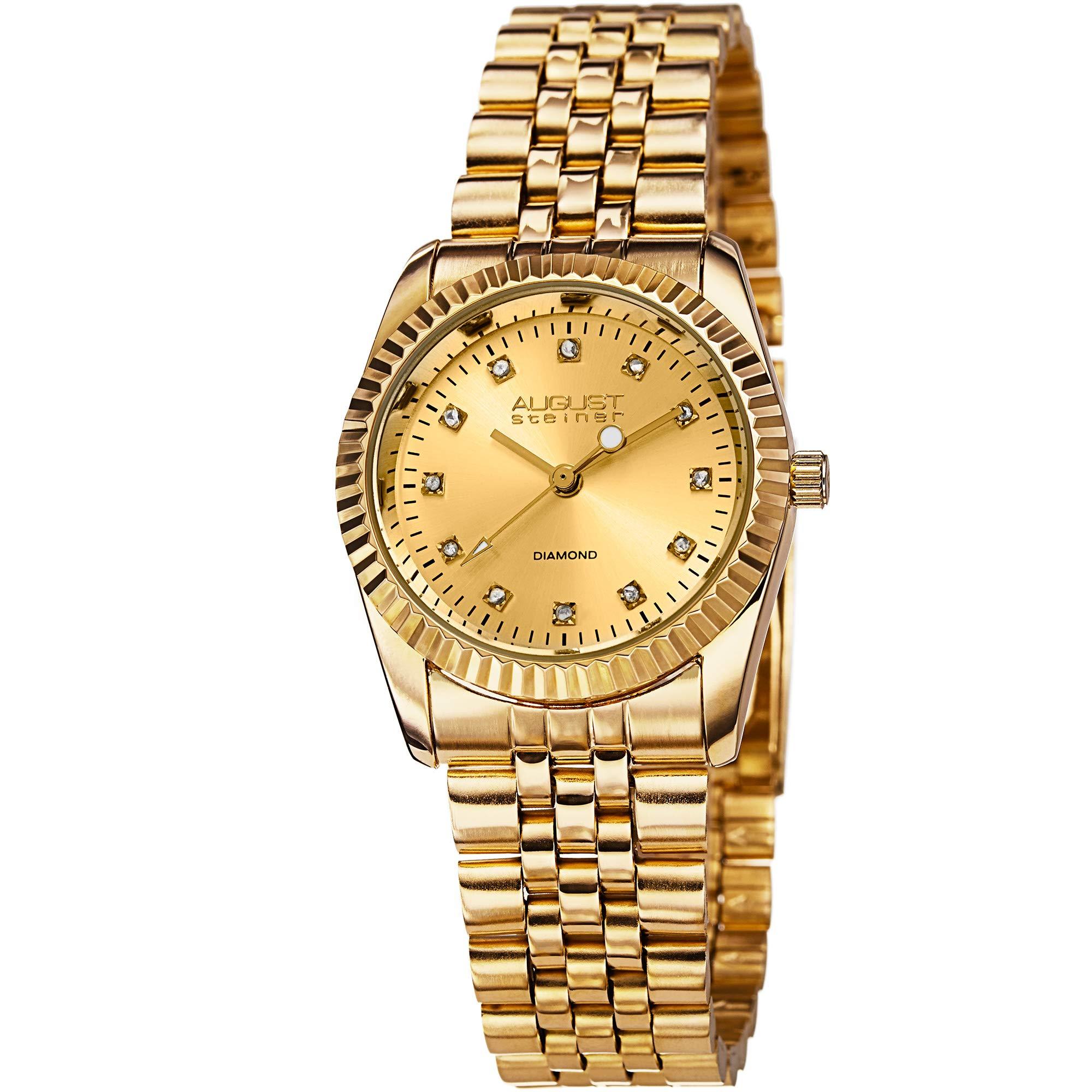 August Steiner 经典女士手表 - 12 个正品钻石小时记号笔 - 不锈钢表链上的硬币边缘边框 - AS8046