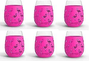 *杯 - 510.92 毫升室内和室外玻璃带防护硅胶套-不含 BPA Flamingo 6pk unknown