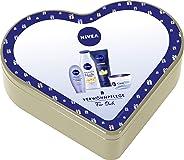 NIVEA 妮维雅心形礼物套装,含有奶油色油珠护理淋浴,感官护肤霜,NIVEA Care Creme & Soft Care 手霜,心形罐装圣诞礼物套装