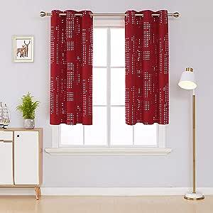 Deconovo 遮光窗帘室内变暗隔热窗帘索环窗帘适用于卧室黑色 132.08 x 160.02 cm 2 片 红色 38x54 Inch CT3292D-2