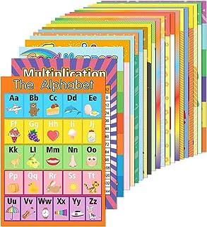 EAONE 22 件装教育学前海报 200 张 胶水点 适合幼儿 儿童 教室 幼儿园 幼儿园 幼儿园 学习字母乘法 ABC 天数等(15.75 x 11 英寸)