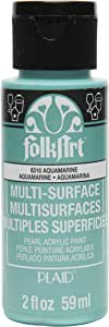 FolkArt 多面丙烯酸颜料 Pearl Aquamarine 2 盎司 6316