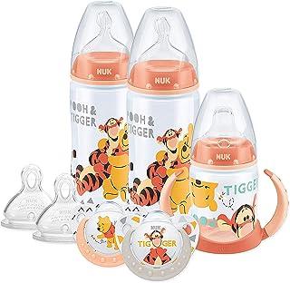 NUK 迪士尼婴儿奶瓶的奶嘴和鸭嘴杯套装 0-18个月 小熊维尼设计 带2个婴儿奶瓶 ,1个鸭嘴杯 ,2 个安抚奶嘴和2个硅胶奶嘴瓶
