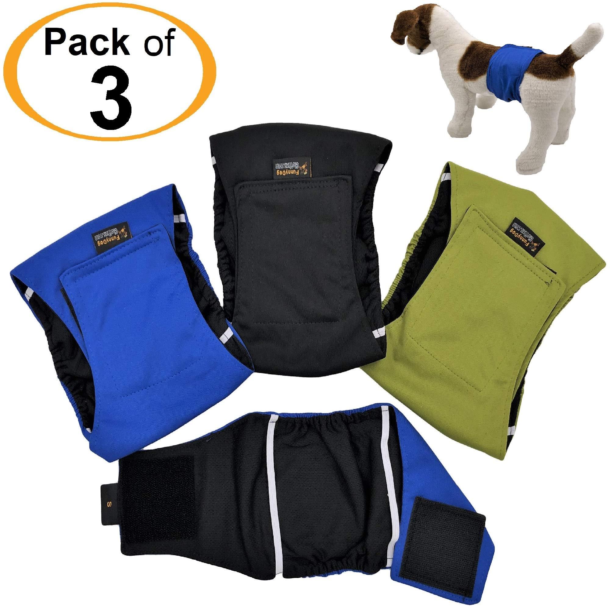 FunnyDogClothes 3 件装男式狗狗尿布防水防漏肚带包裹可水洗,适合小型、中号和大型宠物 S: Waist 10