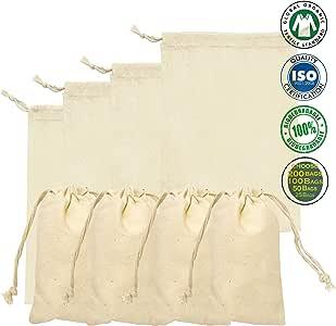 棉质双抽绳平纹细布袋。 * *棉。 100 件装 天然 10 x 12 Inches 43397-55717