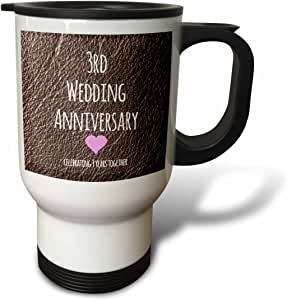 3dRose 7th Wedding Anniversary Gift, Copper Print, Stainless Steel Travel Mug, 14-Oz