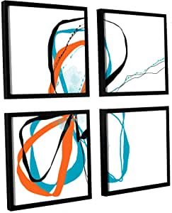 """ArtWall 4 Piece Jan Weiss's Ribbons Floater Framed Canvas Square Set, 48"""" x 48"""""""