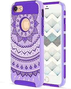 iPhone 7 手机壳 iPhone 7S 手机壳 YCAun 纤薄款混合双层防刮硬质 PC 外壳内减震柔软 TPU 缓冲护甲保护套曼荼罗花卉图案 Light Purple/Purple