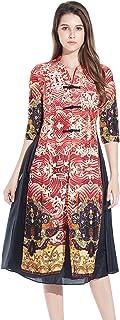 HÖTER 女式 Qipao 高开叉修身连衣裙印花无袖复古中国丝质旗袍
