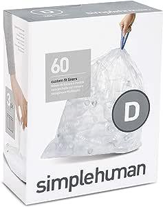 simplehuman Code D,定制适合仓位衬垫 透明 3 x Pack of 20 | 60 Liners CW0278