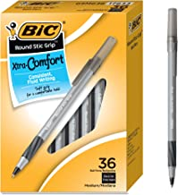 BIC GSMG361BK圓形Stic Grip Xtra舒適圓珠筆,中號筆尖(1.2毫米),黑色,36支
