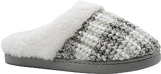 kensie 女孩大孩子一脚蹬毛绒蓬松微光针织家居拖鞋,带人造皮草,可爱温暖舒适家居鞋