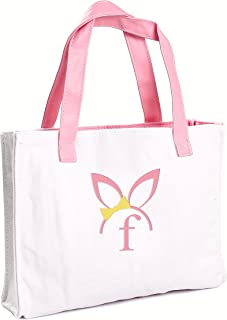Cathy's Concepts Girls Easter Bunny Canvas Tote Bag, Monogrammed Letter F