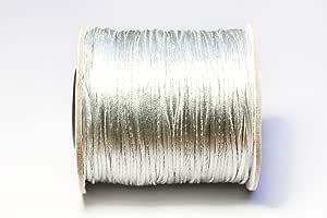 Bistore - 高级尼龙缎绳,100 米/线轴,闪亮丝质外观,适合串珠和打结 浅灰色 1mm Thick Satin cord
