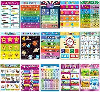 Upriver 15 件幼儿和儿童教育学前海报,带胶点的层压学前海报,幼儿园海报字母表和数字,适用于幼儿园家庭学校幼儿园教室