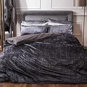 Sienna Valencia 床上用品套装,褶皱天鹅绒,被套带枕套,银灰色 煤灰色 King Size SDHSWPLCL03