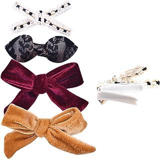 California Tot 优质人造皮革蝴蝶结发夹适合幼儿、女孩,4件装