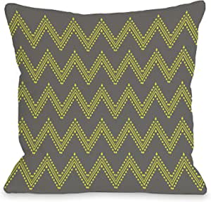 OBC Bentin 家居装饰雅典层 V 形图案抱枕套 Athena Tier Chevron - Charcoal Yellow 18x18 Pillow Cover 12082PL18C