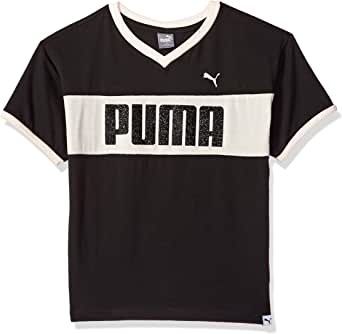PUMA 女童落肩 V 领 T 恤 黑色(Puma) Small (7)