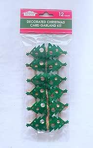 Festive Christmas Card Garland with 12 Clips (Christmas Tree)