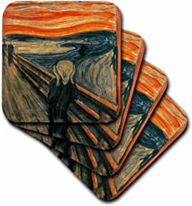 3dRose cst_60716_3 The Scream Painting by Edward Munch Ceramic Tile Coaster (Set of 4)