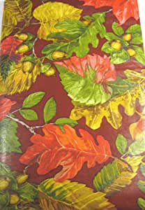 Bountiful Harvest 法兰绒背乙烯基桌布 - Elrene 秋叶 各种尺寸 - 长方形和圆形 多色 52 x 52 Square