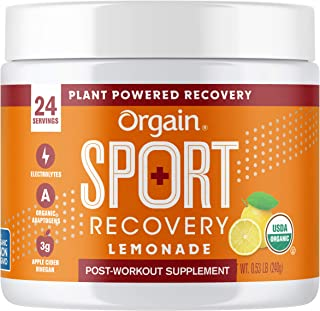 Orgain Sport Recovery Post-Workout Powder - Lemonade, Non-GMO, Organic, Vegan, Fluten Free, Dairy Free, Soy Free - 0.53 lbs