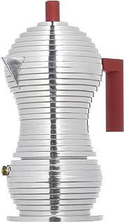 Alessi MDL02/3 R\Pulcina\ 炉灶浓咖啡机 3 杯铝制铸造手柄和花球,红色