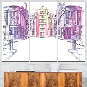 "Design Art Old City Street - Cityscape 绘画金属墙壁艺术 白色 36x28"" - 3 Panels MT7543-3P"