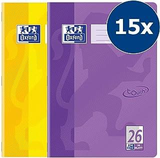 Oxford 400086469 Touch 系列练习簿 Lineatur 26 - kariert mit Rand 15 Stück gelb & flieder