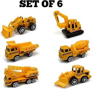 BuyMe It - 工程车辆玩具 - 压铸迷你模型,摩擦动力 - 适合 3,4,5 岁儿童玩具 - 玩具卡车,挖掘机玩具,起重机玩具,推土机 - 适用于沙箱玩具,生日蛋糕顶饰