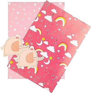 Hallmark 礼品纸和礼品吊坠,大象主题,粉红色