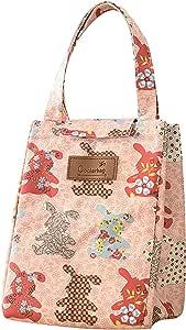 CLOCOR 保温午餐袋/可重复使用的冷藏袋/可折叠午餐手提袋,旅行、野餐和家用 粉色兔子
