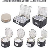 """Woffit 豪华绗缝""""全套餐具存储套件""""#1 *佳存储或运输优质中国餐具、咖啡茶杯、*杯 - 包括 48 个餐盘保护装置"""