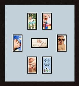 Art to Frames 双倍多衬垫-1028-860/89-FRBW26061 拼贴框架照片垫双衬垫带 7-3x5 开口和咖啡色相框