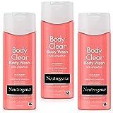 Neutrogena 露得清 透明身体沐浴露,含水杨酸,可防止粉刺,粉红色葡萄柚香,5盎司(约141.75克),250毫升,3件装