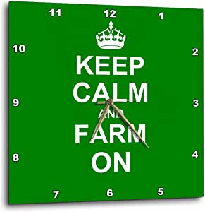 3dRose dpp_157717_3 Keep Calm and Farm On-Carry on Farming-Gift for Farmers-Green Motivational Motivating Calming-Wall Clock, 15 by 15-Inch