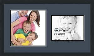 ArtToFrames 拼贴照片框双垫,带 2 个开口和黑色缎框。 Blue Jay 1-8.5x11, 12x12 Double-Multimat-1061-586/89-FRBW26079