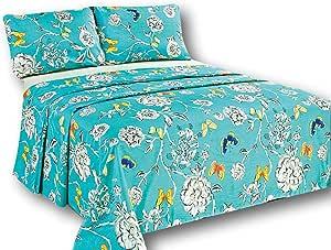 Tache Home 时尚奢华图案床单 Aqua Floral Butterfly Queen 2142FLT-Q