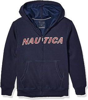 Nautica 诺帝卡男孩绒面羊毛胸部标志全拉链连帽衫