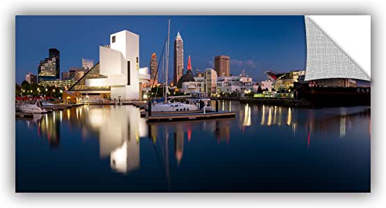 """ArtWall Cody York's Cleveland Skyline 2 Appeelz Removable Graphic Wall Art, 18 by 36"""""""