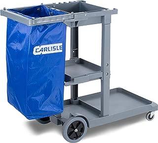 "Carlisle JC1945S23 Polyethylene Short Platform Janitorial Cart, 300 lbs Capacity, 45"" Length x 19"" Width 39"" Height, Gray"