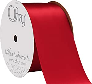 Offray Double Face Satin Craft Ribbon, 2-1/4-Inch Wide by 10-Yard Spool, Scarlet